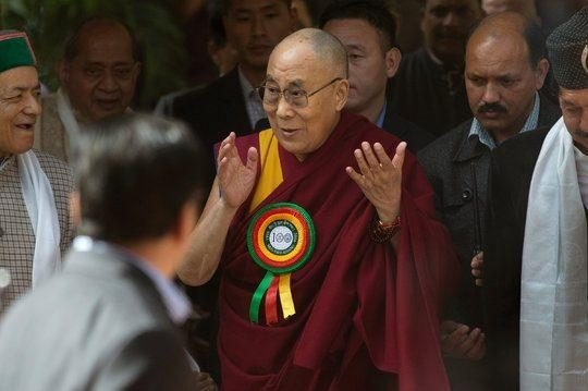 The Dalai Lama at a celebration for the Tibetan Medical and Astro-Science Institute in Dharamsala,